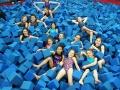 Gymnasts in foam pit